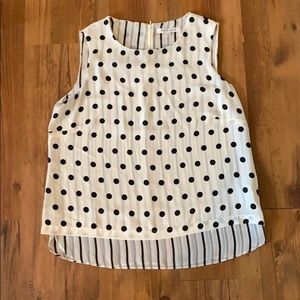 Rose + Olive polka dot striped tank blouse